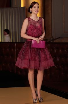 B wears Red Valentino dress + Brian Atwood shoes