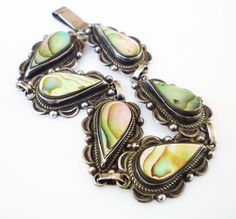 Mexican Sterling Bracelet Abalone Shell Mexico by zephyrvintage