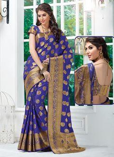 Blue Tussar Silk Sarees #Sarees #IndianSareesOnline #SilkSarees #TussarSilkSarees #SareesOnline #OnlineShopping