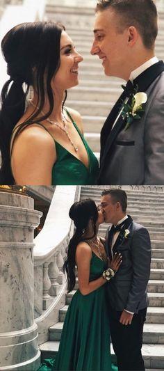 A-Line V-Neck Satin Long Prom Dress with Split Dark Green Evening Dress Sexy Party Dress, Wedding Party Dresses, Sexy Dresses, Bridesmaid Dresses, Green Evening Dress, Evening Dresses, Dark Green Prom Dresses, Green Wedding, Satin