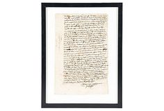 Framed Handwritten French  Document on OneKingsLane.com