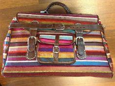 Moroccan Sabra Silk & Leather Travel Bag Luggage by Morokko, $85.00