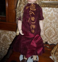 Gorgeous antique burgundy silk velvet doll dress