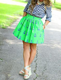 CUSTOM SIZE Eliza Preppy Anchors Skirt by SmittenbyJanuaryHart, etsy- $75