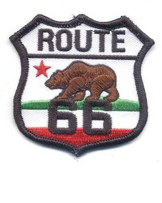 California Route 66 Patch - Brown Bear Red Star