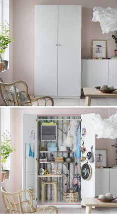 Whether you want it all on display or hidden away, IKEA PAX fitted wardrobes allow you to create your perfect storage space in your bedroom closet or craft room!