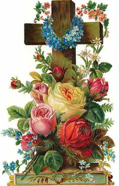 lovely vintage Easter card Okay here's what I'm thinking . A real wooden cross, festooned with big bright blossoms especially Easter lilies, and ribbons, and perhaps even a white dove on one arm of the cross. Vintage Easter, Vintage Holiday, Vintage Greeting Cards, Vintage Postcards, Images Bible, Resurrection Day, Diy Ostern, The Cross Of Christ, Easter Parade