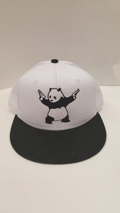 best website a993b 7e367 Shooting Panda Embroidered Trucker Mesh Snap Back One Size Fits All Flat  Bill Hat Cap