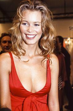 Claudia Schiffer backstage for Valentino, 1994