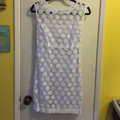 Laundry by Shelli Segal white polka dot dress 6 Laundry by Shelli Segal white sheer dress with white polka dots and white slip underneath, side zipper, great condition, size 6 Laundry by Shelli Segal Dresses Midi