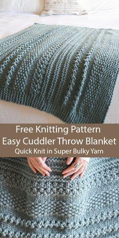 Free Knitting for Easy Cuddler Throw Blanket in 2 Sizes in Super Bulky Yarn - St. Free Knitting for Easy Cuddler Throw Blanket in 2 Sizes in Super Bulky Yarn – Stricken ist so ein Knitting Stitches, Knitting Yarn, Free Knitting, Baby Knitting, Knitting Baby Blankets, Diy Throw Blankets, Knitting Machine, Knitting Needles, Easy Knitting Projects