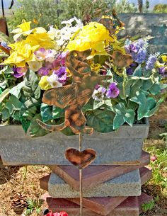 SITTING UP DACHSHUND Art / Outdoor Garden Plant Stake Decor / Metal Copper Yard Art / Angel Dog Pet Memorial / Patina Finish by GardenCopperArt on Etsy