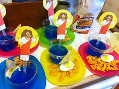 "Jesus walks on water snack. Use teddy Graham's to represent Jesus. Put Swedish fish in the ""ocean."""