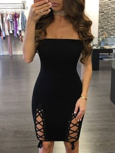 dc9137198e Sexy Strapless Lace Up Tube Bodycon Dress New Dress