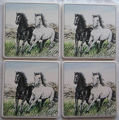 Barlow ArtStone Coasters Absorbent Horse Stallions NEW