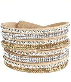 caripe Damen Armband Wickelarmband Glitzer Steine viele Designs + Farben - strala (Modell 2 - sand) - http://schmuckhaus.online/caripe/modell-2-sand-caripe-damen-armband-wickelarmband