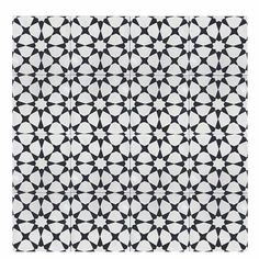 "Medina 8"" x 8"" Handmade Cement Tile in Black/White"