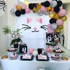 Sarah's Glam Birthday Bash - The Sweetest Occasion Simple Birthday Decorations, Party Decoration, Balloon Decorations, Hello Kitty Birthday, Cat Birthday, 2nd Birthday Parties, Kitten Party, Cat Party, Animal Party