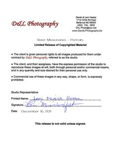 photographer photo release form