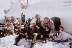 Actual photo of survivors of the Andes plane crash in 1972. Note the human spinal column picked clean in the lower right...
