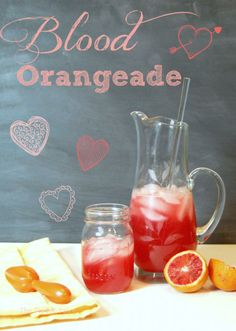 Blood Orangeade Recipe 1 cup water + 1 cup sugar blood oranges (Moro) 3 small lemons or 1 large lemon 3 cups of ice cups of water Easy Cocktails, Cocktail Drinks, Cocktail Recipes, Refreshing Drinks, Yummy Drinks, Yummy Food, Yummy Eats, Healthy Food, Valentine's Day Drinks