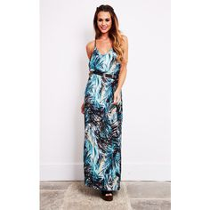 Liquorish Blue Abstract Tropical Print Beach Maxi Dress ($38) ❤ liked on Polyvore featuring dresses, blue, white day dress, white crochet dresses, blue dress, crochet maxi dress and beach maxi dress