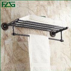 [ $32 OFF ] Flg Wholesale Luxury Solid Brass Bathroom Set Oil Rubbed Wall Mounted Bathroom Accessories Double Towel Racks  G161
