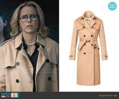 Elizabeth's camel trench coat on Madam Secretary.  Outfit Details: http://wornontv.net/54962/ #MadamSecretary