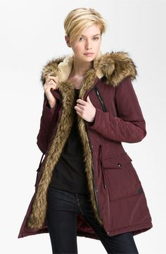 This is what you should run around the city in the winter in.     Laundry by Shelli Segal Faux Fur Trim Anorak available at Nordstrom
