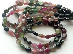 Multi Tourmaline Oval Beads Multi Tourmaline by gemsforjewels