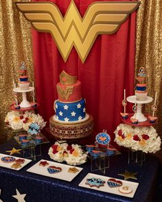 Princess Diana of Themyscira Wonderwoman Birthday theme! Backdrop prop by Photography by # Wonder Woman Birthday, Wonder Woman Party, Birthday Woman, Girl Birthday Themes, Baby First Birthday, Birthday Parties, Candy Table, Dessert Table, Christmas Tree Feathers