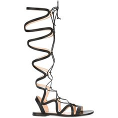Gianvito Rossi Medusa Sandals ($1,265) ❤ liked on Polyvore featuring shoes, sandals, flats, flat sandal, black, leather sandals, black strap sandals, black lace up flats, leather strap sandals and black flat sandals