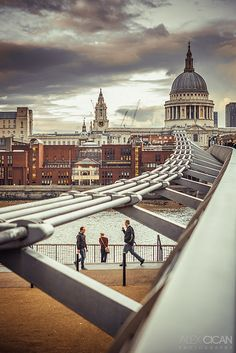 St. Paul's Cathedral from the Millennium Bridge, London, UK