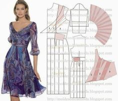 Pattern charming dresses / Simple patterns / The hands – patterns, alteration of clothing, interior decoration with your own hands – from SECOND STREET Sewing Paterns, Dress Sewing Patterns, Sewing Patterns Free, Clothing Patterns, Diy Clothing, Sewing Clothes, Diy Fashion, Ideias Fashion, Fashion Design