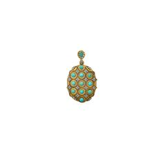 PERSIAN TURQUOISE AND DIAMOND 18K GOLD LOCKET | Rago Auctions