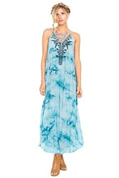 The Sugarlips Zuri Tie Dye Maxi Dress is a Bohemian tie dye embroidered maxi dress. Features multiple straps and a criss cross on back. Price : $68.00 #MyLuluCloset #Sugarlips #NewArrivals