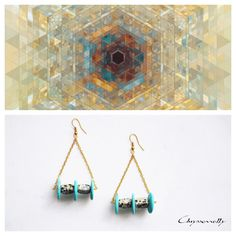 JEWELRY | Chryssomally || Art & Fashion Designer - Geometria collection boho luxe gold triangle earrings with turquoise and dalmatian gemstones