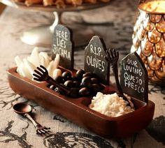Tombstone Condiment Set   Pottery Barn - could create something similar without the expense.