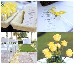 black, white + yellow #wedding #ceremony #decor