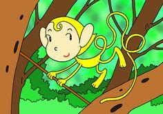 Monkey cartoon character - Monkey of cute smile