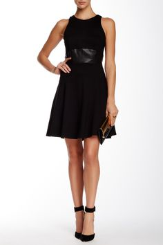 Flare Faux Leather Trim Mini Dress by 5th & Mercer on @nordstrom_rack