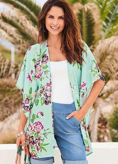 Floral Print Kimono by Kaleidoscope Print Chiffon, Floral Chiffon, Holiday Fashion, Holiday Style, Long Kimono Cardigan, Floral Kimono, Loose Tops, Kimono Fashion, Boho Tops