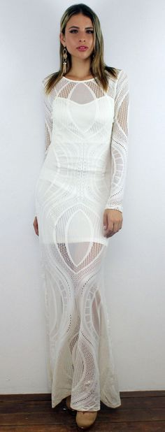 c8fa34e14274 White Elegant Lace Long Dress featuring Long Sleeves White Short Lining  Invisible Zipper at the Back