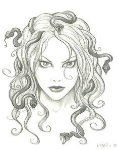medusa Medusa Drawing, Medusa Art, Medusa Tattoo, Medusa Head, Drawing Sketches, Art Drawings, Book Drawing, Snake Hair, Head Tattoos