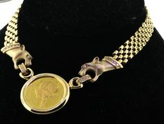 HEAVY 24K/14K GOLD 1oz 24K GOLD COIN 1.0CT VS DIAMOND PANTHER NECKLACE 94 GRAMS