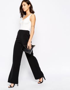 Warehouse Mono Plunge Neck Wide Leg Jumpsuit