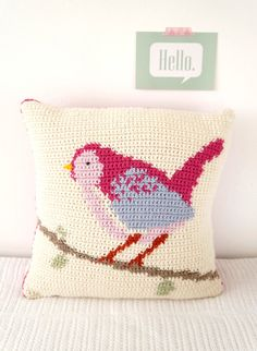 Crochet your own Bird Cushion! This delightful cushion is easy to make with full instructions including a colour change graph. With a buttoned
