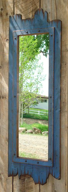 Antique bathroom Mirror - fullLength red barn wood mirror Great for any dressing room, closet, bathroom, entry way, guest bedroom or western home decor. Barn Wood Mirror, Rustic Mirrors, Blue Mirrors, Old Wood, Rustic Wood, Distressed Wood, Rustic Barn, Barnwood Ideas, Antique Wood