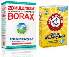 Mule Team Borax and Arm & Hammer Super Washing Soda Variety Pack: Two great detergents at one great value! Laundry Detergent Recipe, Powder Laundry Detergent, Natural Laundry Detergent, Borax Laundry, Laundry Tips, Diy Cleaning Products, Cleaning Hacks, Cleaning Recipes, Homemade Drain Cleaner