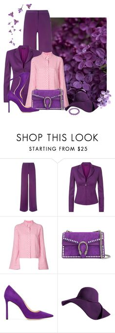 """""""violet"""" by bb-tka ❤ liked on Polyvore featuring La Perla, Filles à papa, Gucci, Jimmy Choo, Bling Jewelry, violet and gingham"""